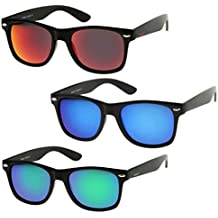 zeroUV - Matte Finish Reflective Color Mirror Lens Large Square Horn Rimmed Sunglasses 55mm