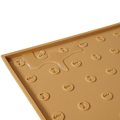 WooPet! Pet Food Mat 24''x16'' Tan Extra Large, Premium Silicone Food Safe Cat or Dog Feeding Mat by WooPet! (Image #5)