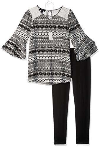 Amy Byer Big Girls' 3/4 Sleeve Top Legging Outfit Set, Black/Ivory Diamond Stripe, XL by Amy Byer