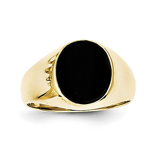 (Men's 10K Yellow Gold Black Onyx Ring)