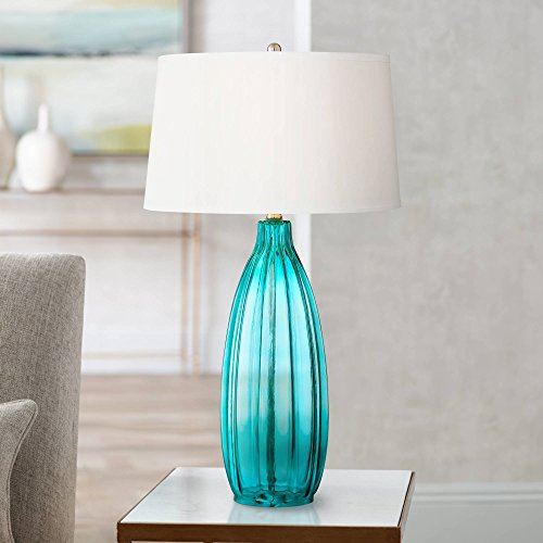 Stella Modern Table Lamp Clear Blue Fluted Glass White Drum Shade for Living Room Family Bedroom Bedside Nightstand - 360 Lighting (Glass Living Table Clear Lamps For Room)