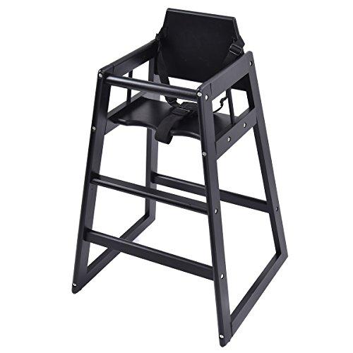 Costzon Baby High Chair Wooden Stool Infant Feeding Children Toddler Restaurant (Black)