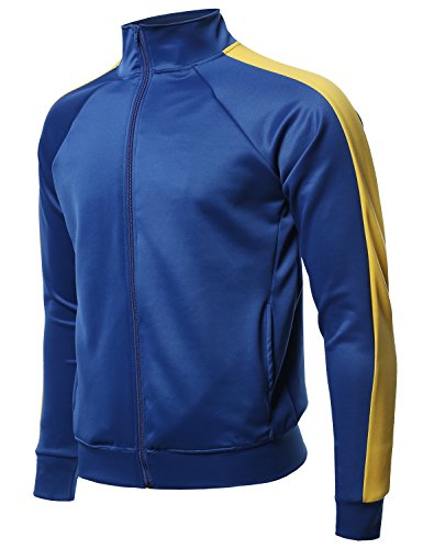 (Premium Quality Shoulder Panel Zip-Up Track Jacket Blue Yellow L)