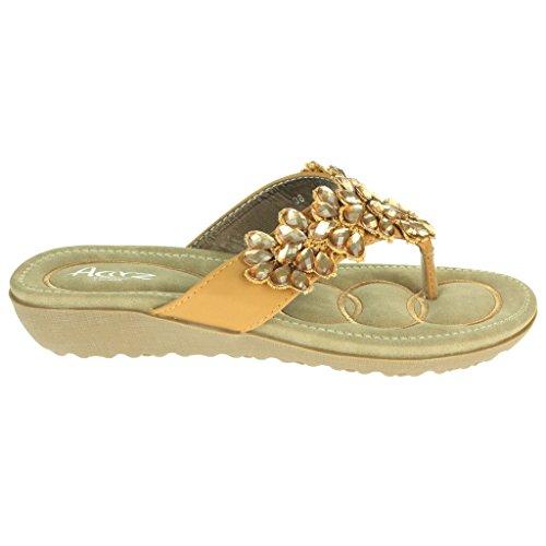 Mujer Señoras Rebordeado Suela blanda Ponerse Verano playa Casual Fiesta Punta abierta Comodidad Plano Sandalias Zapatos Tamaño camello