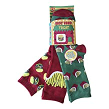 6 Pairs of Boys Cotton Rich Colurful Fast Food Socks in 4 Different Sizes