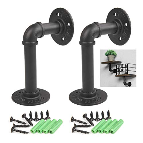 (QLOUNI 2Pcs Industrial Black Iron Pipe Shelf Brackets Wall Mounted Rustic Pipe Decor 15x10cm)