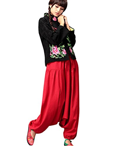 Coulissée Taille Pantalon Rouge Jambe Crotch Large Femmes Goutte Youlee PXukOTZi