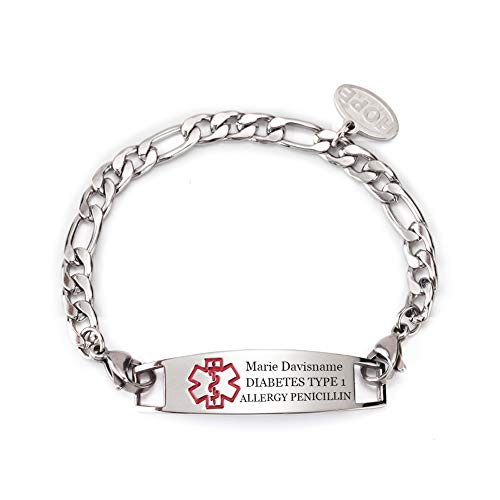 Custom Engraved Stainless Steel Figaro Chain Medical Alert ID Bracelet for Child 6inch