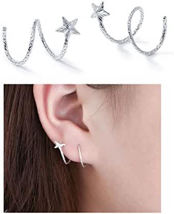 S925 Sterling Silver Star Earrings Stud Ear Wire Ear Cuff Earrings