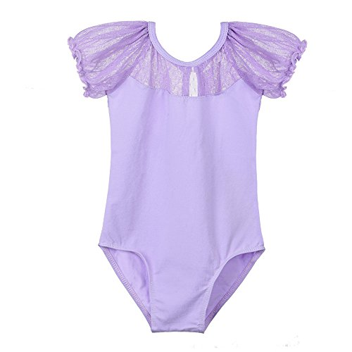 TFJH Little Girls' Team Basic Short Sleeve Leotard Purple 7-8 Year