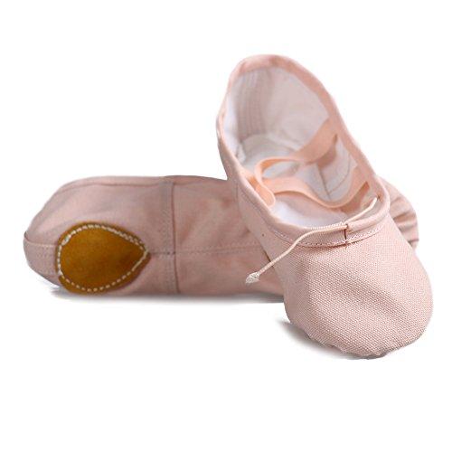Roymall Womens&Girls Ballet Dance Shoes/Slipper/Yoga/Gymnastics Flat Split Sole Shoes Dark Pink