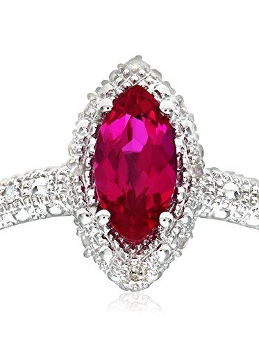 Revoni - Bague en or blanc 9 carats, rubis marquise synthétique et diamants