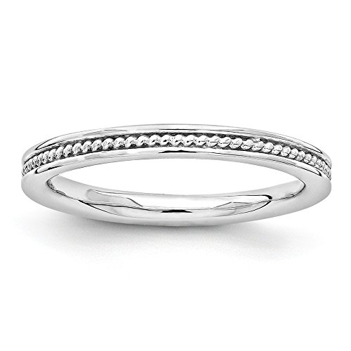 2.25mm Sterling Silver Stackable Rhodium Plated Channeled Band Sz 7 from Stackable Expressions