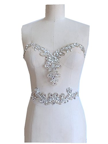 New Silver Hand Made Crystals Trim Patches sew on Rhinestones Sequins Applique on mesh 32x18cm & 327cm