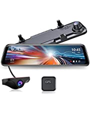 """JOMISE G840 2.5K Mirror Dash Cam, 12"""" IPS Full Touch Screen, Waterproof Backup Rear View Mirror Dash Camera, Sony Sensor, Enhanced Night Vision, GPS Tracking, Loop Recording, Parking Assistance"""