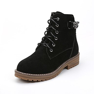 Nubuck Rivet 1in 4in Boots Combat 3 Lace Yellow Winter Women's Chunky leather Heel Gll Green Shoes up green 1 amp;xuezi Fall Walking Black Casual Boots gqw7xI0R