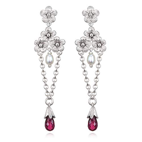 Ariva Fine Jewelry Sterling Silver Floral Rhodolite and Pearl Earrings