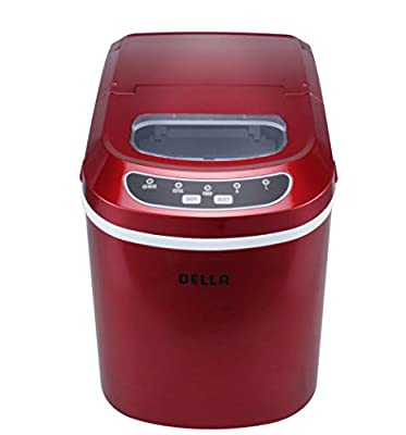 Compact and Portable Electric Ice Maker Producing - 26lbs per Day Bullet-Shaped Ice 2 Cube Size Red Color
