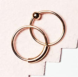 Nose Rings, 10mm, ROSE gold over Sterling Silver, Set of TWO, captive bead and plain hoop, lip,eyebrow,body piercing