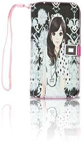 NinjaX+ Galaxy S4 Pretty Girl Print PU Leather Wallet Folio Case w/ Magnetic Clip Button & Interior Credit Card Slots: Monochromatic Pretty