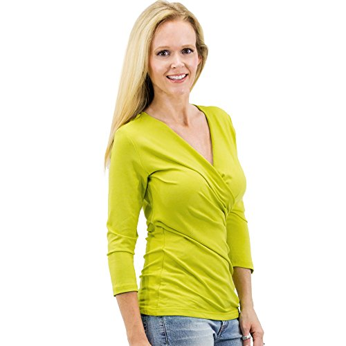 Women's Office Outfits Solid/Print V Neck 3/4 Sleeve kimono Knit tees Front Drape Wrap Jersey Tops Side Shirring Blouse t-shirt (XL, Citron)