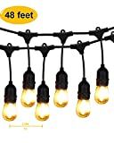 Outdoor String Lights LED, BRIMAX 48ft Heavy Duty Commercial Grade IP65 Waterproof String Lights,15 E27 Sockets, 18 LED Bulbs (2W Warm White),Weatherproof Garden lights for Patio,Backyard,Cafe,We