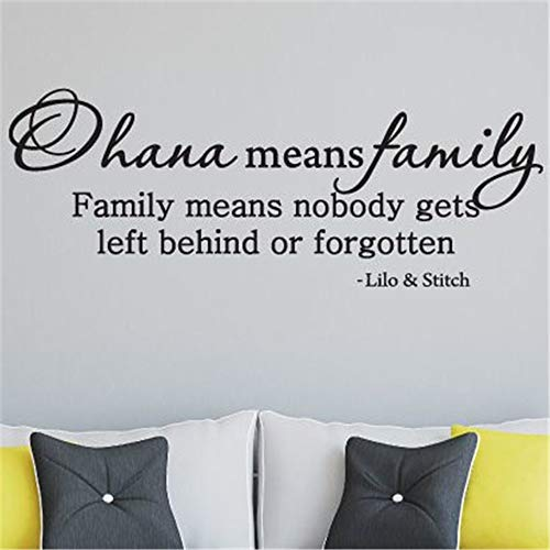Disney Family Window Decal - urbaa Ohana Means Family Wall Quotes Decal Wall Stickers Art Decor Vinyl Peel and Stick Mural Removable Wall Sticker Decals for Room Home (12 x 32 inches)