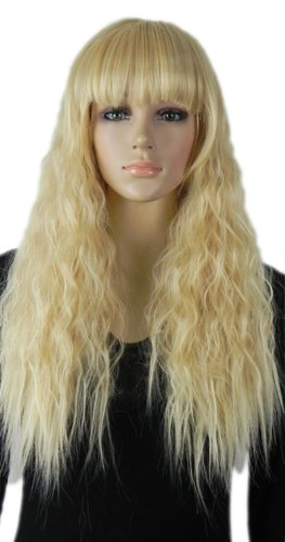 [Paixpays Long Wavy Curly Perm Heat Resistant Fibre Synthetic Hair full wig] (Perm Wigs)