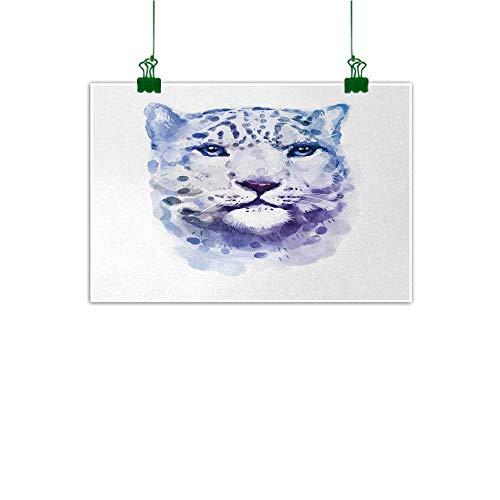(Unpremoon Animal Wall Decoration Big Wild Cats Themed Print Watercolor Style Leopard Illustration Jungle Wildlife Wall Art Kitchen Violet White W 24