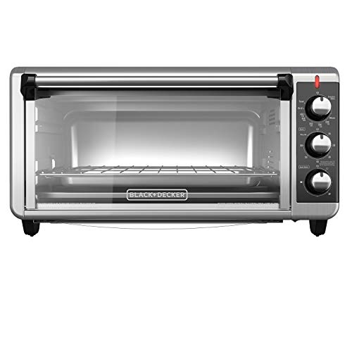 BLACK+DECKER TO3250XSB 8-Slice Extra Wide Convection Countertop Toaster Oven, Includes Bake Pan, Broil Rack & Toasting Rack, Stainless Steel/Black (Black & Decker Under Counter Toaster Oven)