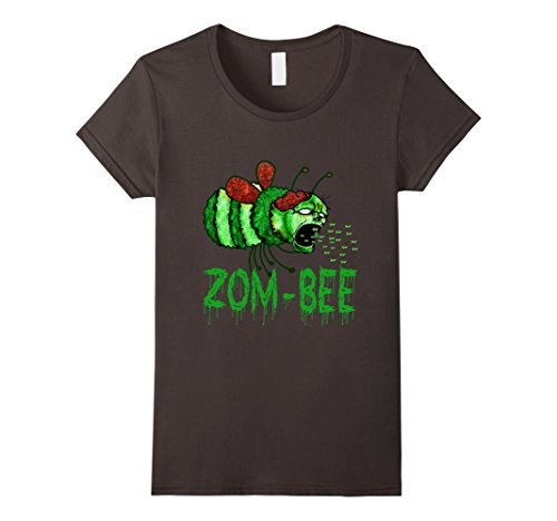 Zom-bee Costume (Womens Scary Zom-bee Or Zombie Halloween Bee Lovers Pun T-shirt Large Asphalt)