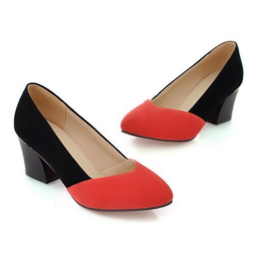 VogueZone009 Womens Closed Round Toe Kitten Heel PU Frosted Assorted Colors Pumps Orange vi9ShN