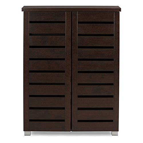 Baxton Studio Wholesale Interiors Adalwin Modern and Contemporary 2-Door Dark Brown Wooden Entryway Shoes Storage Cabinet
