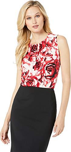 Calvin Klein Women's Pleat Neck Cami Red Multi Medium