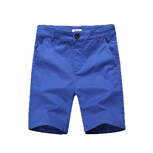 KID1234 Boys Shorts - Flat Front Shorts with Adjustable Waist,Chino Shorts for Boys 5-14 Years,6 Colors to Choose Blue -