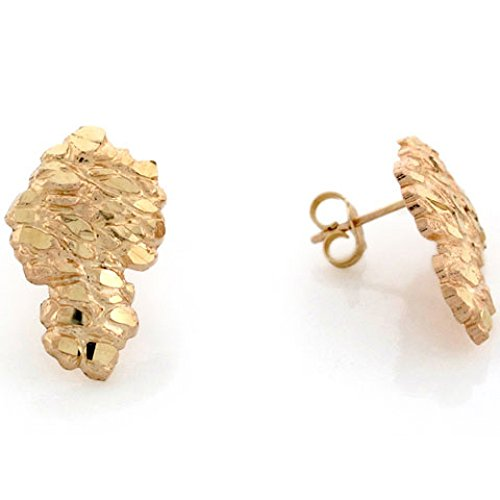 (14k Solid Yellow Gold 1.2cm Nugget Pin Earrings)
