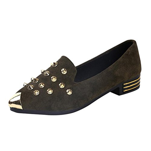 HLHN Women Shoes, Rivet Pointed Toe Elegant Low Flat Heel Ankle Casual Office Business Fshion Ladies Green