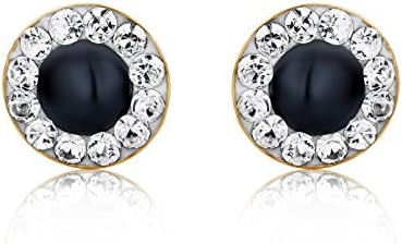 Miore Earrings Women  studs Blue Sapphire with Swarovski   Yellow Gold 9 Kt / 375