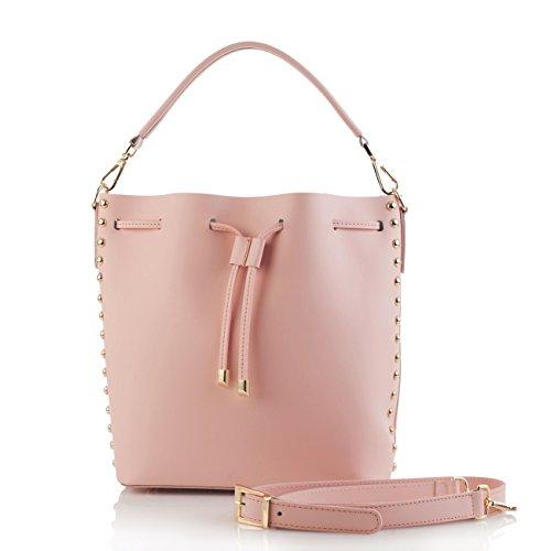 INGRID Borsa a spalla secchiello con borchie oro chiaro pelle liscia rosa cipria