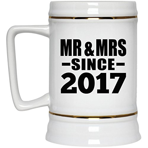 (Anniversary Best Gift Idea 2nd Anniversary Mr & Mrs Since 2017 - Beer Stein Ceramic Beer Mug Funny Gag for Wife Husband Women Men Her Him Couple Parent Wedding)