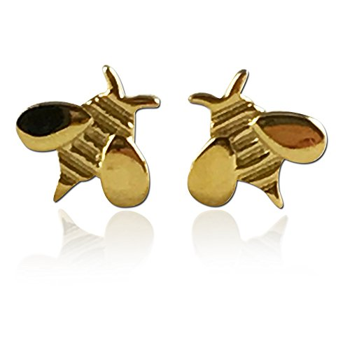 humble-bee-boutique-girls-14k-plated-honey-bee-screwback-stud-earrings