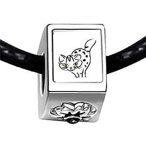 Chicforest Silver Plated Egyptian Mau Cat Photo Black Crystal Flower Charm Beads Fits Pandora Bracelets