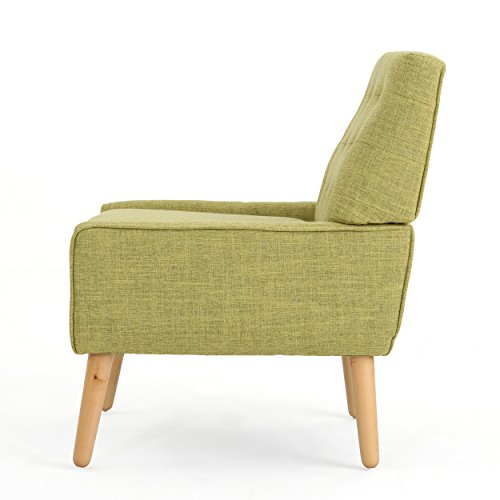Christopher Knight Home 301885 Eilidh Buttoned Mid Century Modern Muted Green Fabric Chair, - 3