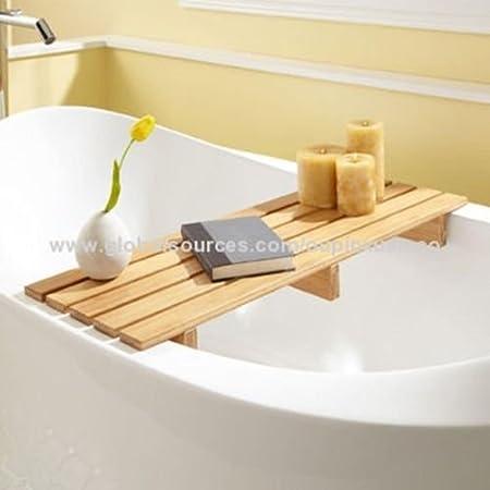 KLICKS 70 cms Natual bamboo bathtub caddy,Bath Bridge Tidy Tub Tray ...