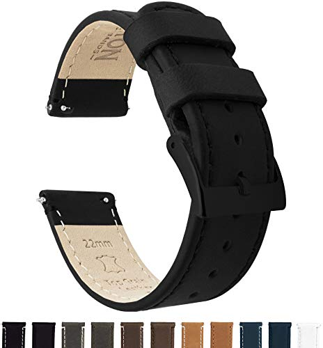 Barton Quick Release Leather Black Buckle Watch Band Strap - Choose Color - 16mm, 18mm, 20mm, 22mm or 24mm - Black/Black 24mm (24mm Black Watch Band Leather)