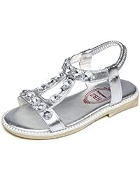 Kids Little Girls Gladiator Princess T-Strap Sandals with Rhinestone