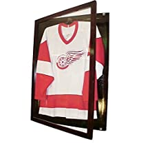 Small Cherry Jersey Display Case Football Basketball Hockey Baseball Jersey Display Case Shadow Box Frame, 98% Uv Protection Door, with Hanger P312C by Pennzoni Display