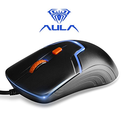 AULA Skyline Gaming Mouse Wired with 3 Colors led Light, 1000/1600 Adjustable DPI Ergonomic Gaming Mouse for PC, Two DPI Regulation USB Connector