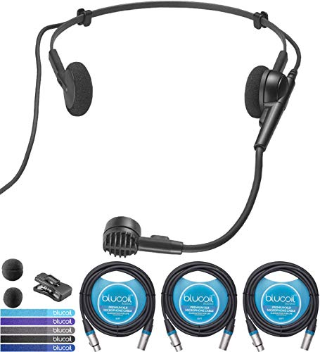 Audio-Technica PRO 8HEx Hypercardioid Dynamic Wired Microphone Bundle with Blucoil 3-Pack of 10-FT Balanced XLR Cables, and 5-Pack of Reusable Cable Ties