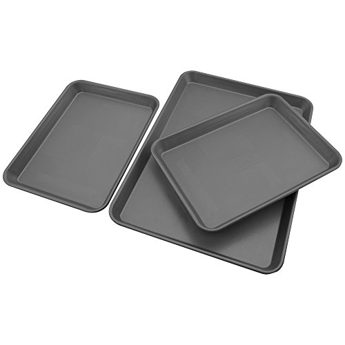 Signature Commercial Grade Non-Stick 3 Piece Cookie Sheet, Set Gray by Signature